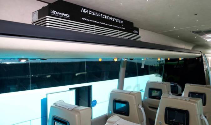 Purificador de aire en autobús.